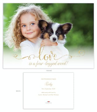 Foil Love/Four-Legged Word Pet Adoption Photo Announcement