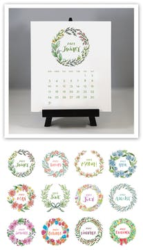 Watercolor Wreaths 2021 Desk Calendar & Easel