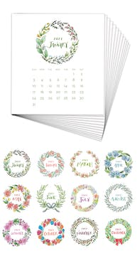 Watercolor Wreaths 2021 Desk Calendar Refill