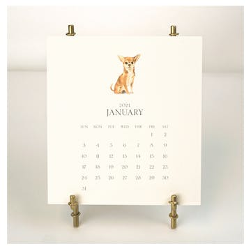 Personalized Pet Calendar 2021 Desk Calendar & Easel - Click Personalize to Choose from Many Dog & Cat Breeds