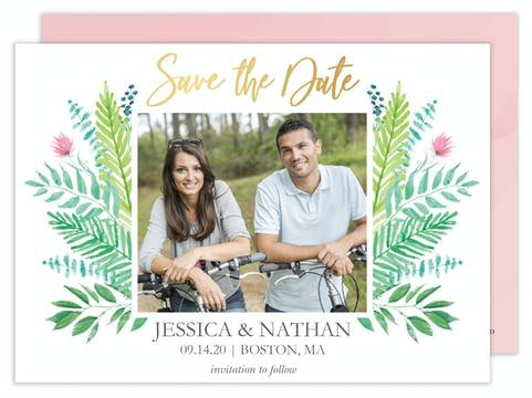 Gorgeous Greenery Photo Save the Date