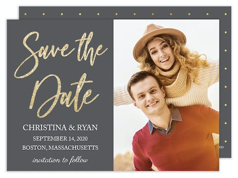Glitter & Grey Photo Save the Date