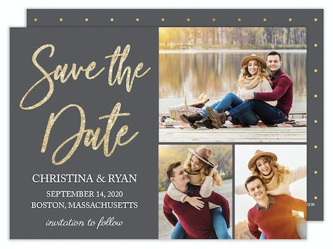Glitter & Grey Save the Date - Multi-photo