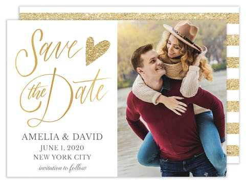 Glitter Heart Photo Save the Date