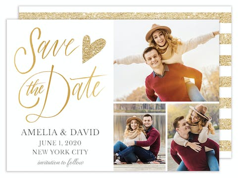 Glitter Heart Save the Date - Multi-photo