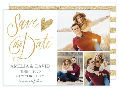 Glitter Heart Save the Date - Multi-photo