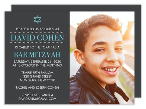 Photo Bar Mitzvah Invitation