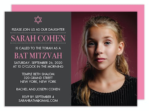 Photo Bat Mitzvah Invitation