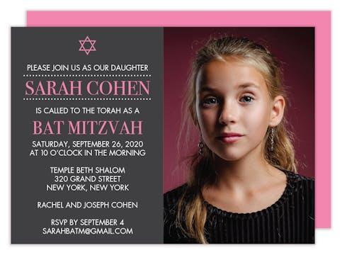 Photo Bat Mitzvah Invitation