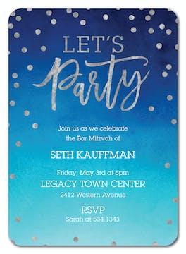 Let's Party Foil Pressed Invitation