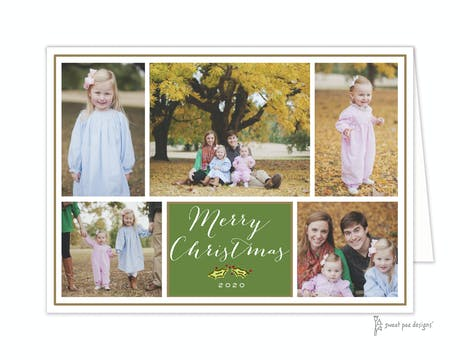 Dark Green Folded Photo Collage With Gold Border Folded Photo Holiday Card
