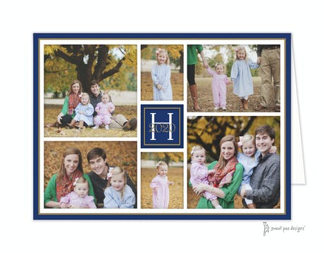 Folded Photo Collage Navy And Gold Folded Photo Holiday Card