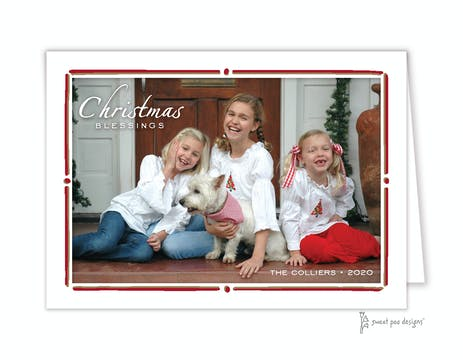 Red & Gold Vintage Frame Folded Photo Holiday Card
