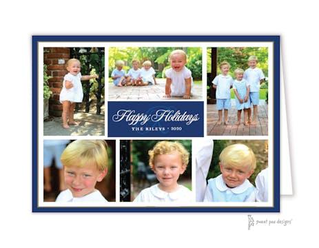 Folded Photo Collage Navy & Gold Folded Photo Holiday Card