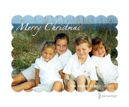 Classic Merry Christmas On Full Bleed Flat Photo Flat Photo Holiday Card
