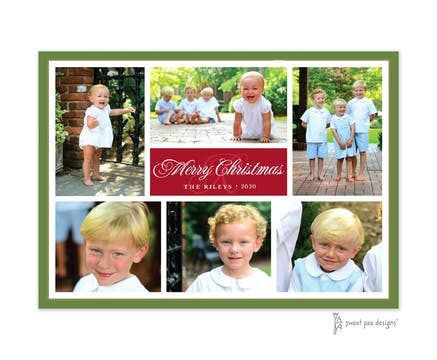 Flat Photo Collage Dark Red, Dark Green & Gold Flat Photo Holiday Card