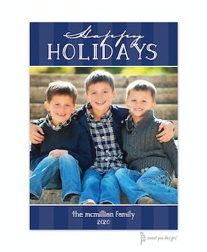 Classic Stripes Navy Flat Photo Holiday Card
