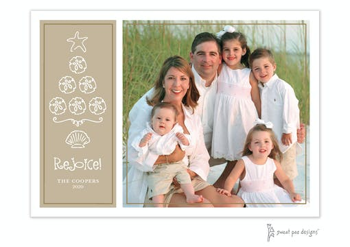 Beach Tree Light Gold Holiday Flat Photo Card