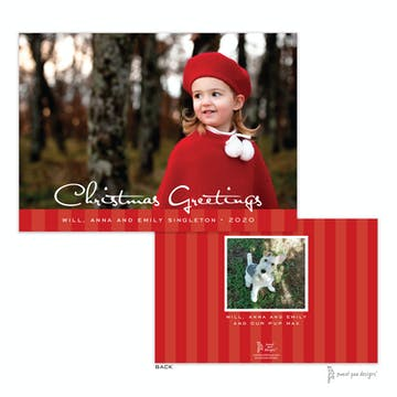 Striped Band Red Flat Holiday Photo Card