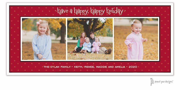 Sweet Dots Red Old Christmas Flat Photo Card