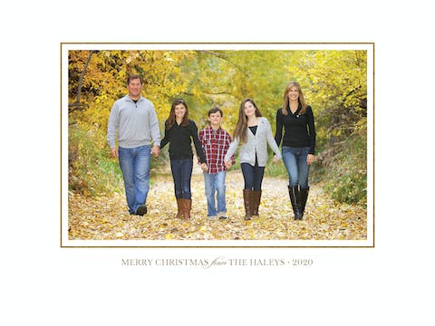 Simple Foil Border (horizontal) Holiday Photo Card