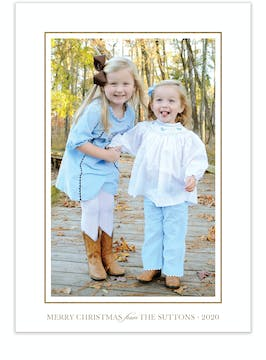 Simple Foil Border (vertical) Holiday Photo Card