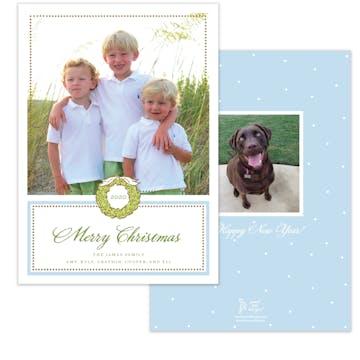 Foil Wreath Blue Holiday Photo Card