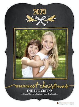 Golden Gift Foil Pressed Holiday Flat Photo Card