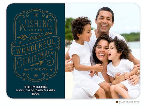 Simply Wonderful Navy Foil Pressed Holiday Photo Card