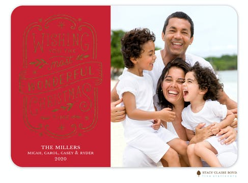 Simply Wonderful Red Foil Pressed Holiday Photo Card