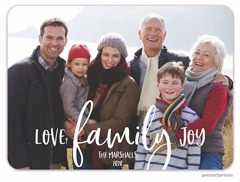 Love Family Joy Holiday Photo Card
