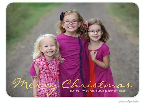 Simple Script Foil Pressed Holiday Flat Photo Card