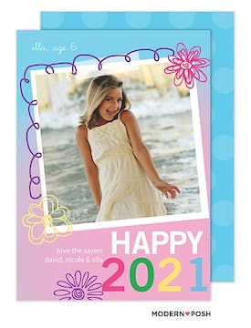 New Year Sparkle Flat Photo Card