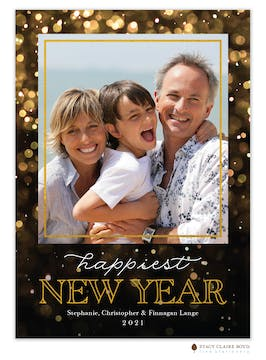Happiest New Year Foil Pressed Holiday Photo Card