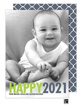 Bold Letters New Year Holiday Flat Photo Card