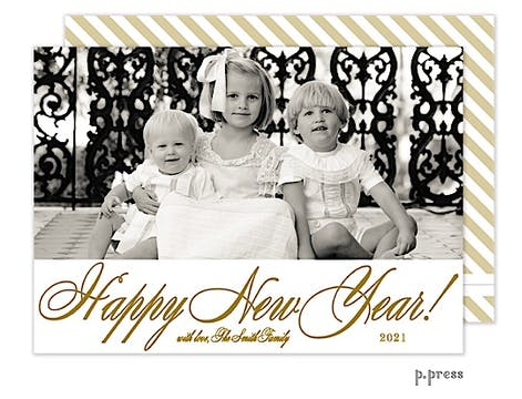 New Year Holiday Flat Photo Card