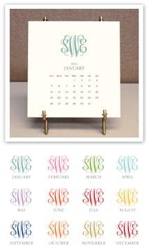 Monogrammed 2021 Desk Calendar & Easel