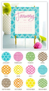 Painted Pattern 2021 Desk Calendar & Easel