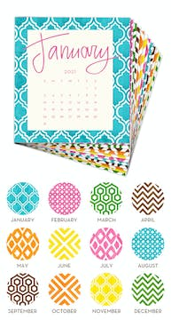 Painted Pattern 2021 Desk Calendar Refill
