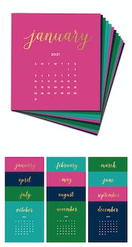 Bright Colors 2021 Foil Pressed Desk Calendar Refill