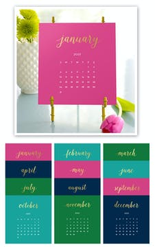 Bright Colors 2021 Foil Pressed Desk Calendar & Easel