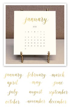 Solid Cream 2021 Foil Pressed Desk Calendar & Easel