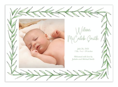 Greenery Frame Photo Announcement