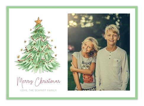 Painted Christmas Tree Digital Photo Card
