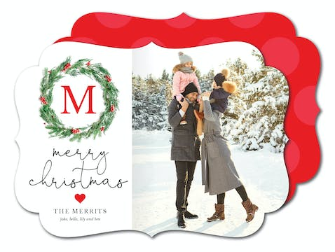 Monogrammed Wreath Holiday Photo Card