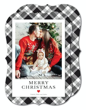Black Plaid Holiday Photo Card