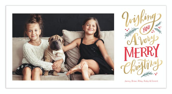 Shimmer Wishes Print & Apply Holiday Photo Card