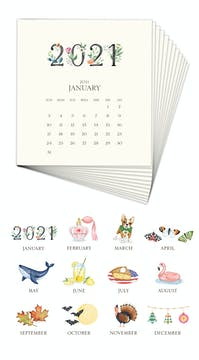 Hand-sparkled 2021 Desk Calendar Refill