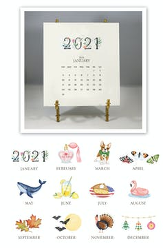 Hand-sparkled 2021 Desk Calendar & Easel