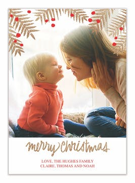 Champagne Christmas Holiday Photo Card